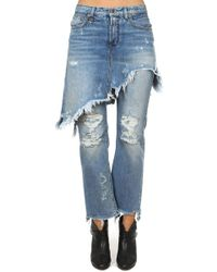 R13 Double Classic Shredded Jean Jasper W/ Rips