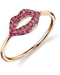 Sydney Evan - Pave Ruby Lips Ring - Rose Gold - Lyst