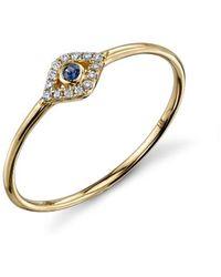 Sydney Evan Small Bezel Evill Eye Ring
