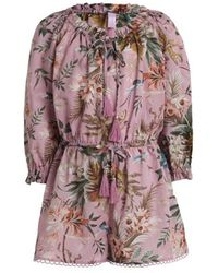 Zimmermann - Tropicale Bow Playsuit Pink Floral - Lyst