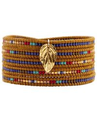 Chan Luu - Mix Seed Bead Bracelet On Henna Leather With Gold Leaf - Lyst