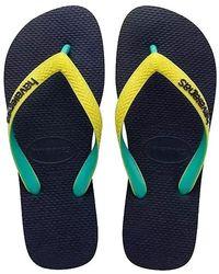 Havaianas - Navy/neon Yellow Top Mix Flip Flops - Lyst