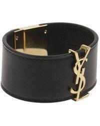 Saint Laurent - Women's Black Leather Bracelet - Lyst