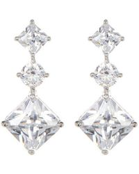 Adornia - Swarovski Crystal Princess And Round Shaped Drop Earrings - Lyst