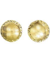 Jewelry Affairs - 14k Yellow Gold Satin With Diamond Cut Edges Stud Earrings, 8mm - Lyst
