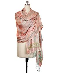 Saachi - Coral Hand Embroidered Scarf - Lyst