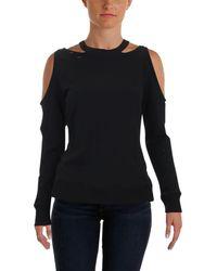 Aqua - Womens Cold Shoulder Distressed Sweatshirt, Crew - Lyst