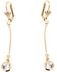Peermont - Gold And Clear Crystal Elements Elephant Drop Earrings - Lyst