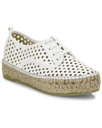Loeffler Randall - Alfie Perforated Vachetta Leather Espadrille Sneaker - Lyst