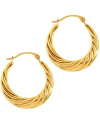 Jewelry Affairs - 10k Yellow Gold Swirl Textured Graduated Round Hoop Earrings, Diameter 20mm - Lyst