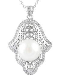 Splendid - Hamsa Freshwater Pearl Pendant In Sterling Silver - Lyst