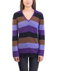 Prada - Women's Cashmere Striped V-neck Sweater Purple - Lyst