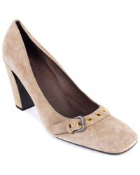 Car Shoe - By Prada Brown Suede Buckled Square Toe Court Shoes - Lyst