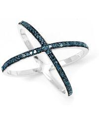 Barzel - Sterling Silver 0.46cttw Criscross Genuine Blue Diamond Ring - Lyst