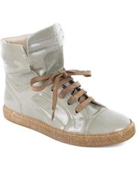 Brunello Cucinelli - Womens Light Green Lace Up Patent Trainers - Lyst