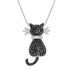 Amanda Rose Collection - Sterling Silver Cat Pendant-necklace Made With Black And White Swarovski Crystals - Lyst
