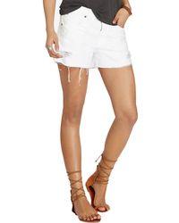 Denim & Supply Ralph Lauren - White Cotton Distressed Cutoff Shorts - Lyst
