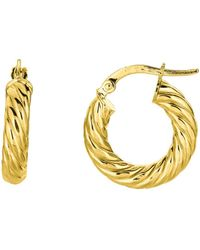 Jewelry Affairs - 14k Yellow Gold Round Tube Twists Hoop Earring, Diameter 10mm - Lyst