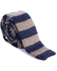 Brunello Cucinelli - Cashmere Brown & Navy Striped Tie - Lyst