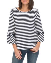 B Collection By Bobeau - Bobeau Brielle Striped French Terry Top - Lyst