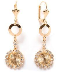 Peermont - Gold & Crystal Circle Drop Earrings - Lyst