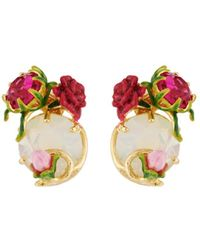 Les Nereides - Balad In Versailles Stone And Rose And Bud Earrings - Lyst