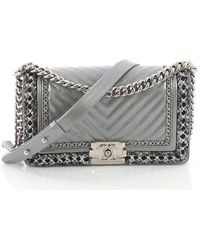 69047fb95319 Chanel - Pre Owned Jacket Boy Flap Bag Quilted Lambskin With Tweed Old  Medium - Lyst