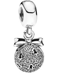 PANDORA - Silver Cz Christmas Wish List Charm - Lyst