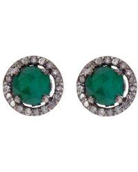 Adornia - Sterling Silver Echo Emerald & Champagne Diamond Halo Stud Earrings - Lyst
