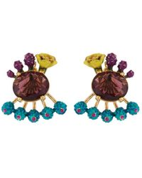 Les Nereides - Twilight Desert Purple Faceted Glass, Flowers And Blue Buds Removable Clasp Earrings - Lyst