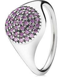 PANDORA - Large Silver Pave Cz Ring - Lyst