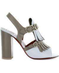 Santoni - Women's Light Blue/grey Leather Sandals - Lyst