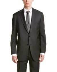 Hart Schaffner Marx - 2pc Wool-blend Suit With Flat Front Pant - Lyst
