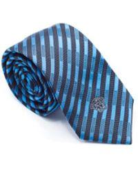 Versace - Mens Black Blue Striped Pure Silk Medusa Ties - Lyst