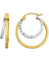 Jewelry Affairs - 14k Yellow And White Gold Double Row Hoop Earrings, Diameter 20mm - Lyst