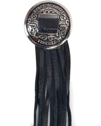 Roberto Cavalli - Silver Black Enamel Metal Western Leather Tassel Brooch - Lyst