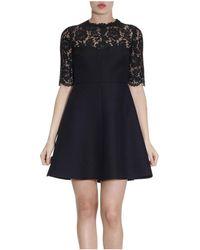 Valentino - Women's Black Wool Dress - Lyst