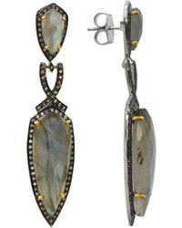 Pangea Mines - 2.5 Inches Labradorite & White Topaz Drop Earrings - Lyst