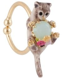 Les Nereides | Loves Animals Siamese Cat And Blue Stone Adjustable Ring | Lyst