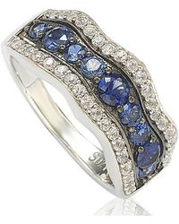 Suzy Levian - Sapphire And Diamond In Sterling Silver And 18k Gold Wavy Ring - Lyst
