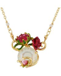 Les Nereides - Balad In Versailles Stone With Rose And Bud Necklace - Lyst