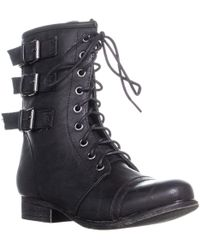 Madden Girl - Ginghamm Triple Bucklet Combat Boots, Black - Lyst
