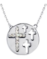 Barzel - 18k White Gold Ptd Sterling Silver Cz Necklace - Lyst