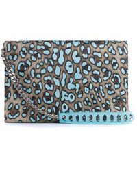 Roberto Cavalli - Silk Leather Large Blue Cheetah Print Juno Clutch - Lyst