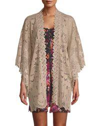 Anna Sui - Cupid's Clouds & Scallop Lace Kimono - Lyst