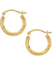 Jewelry Affairs - 10k Yellow Gold Shiny Diamond Cut Round Hoop Earrings, Diameter 15mm - Lyst