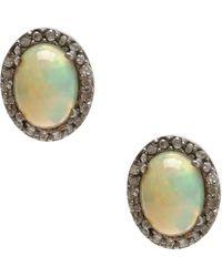 Adornia   Opal And Champagne Diamond Echo Ii Earrings   Lyst