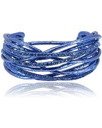 Roberto Cavalli - Metallic Blue Wired Swarovski Crystal Cuff Bracelet - Lyst