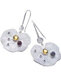 Jewelista - Sterling Silver & Gemstone Lily Drop Earrings - Lyst