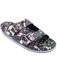 Givenchy - Black And Multi-pink Floral Leather Sandals - Lyst